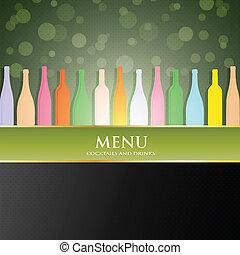 menu, vecteur, couverture, vin