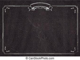 menu, vecteur, retro, fond, tableau noir