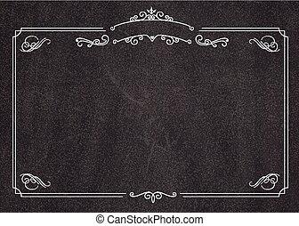 menu, vecteur, retro, fond, tableau noir, frontière