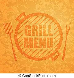 menu, vector, grill, ontwerp