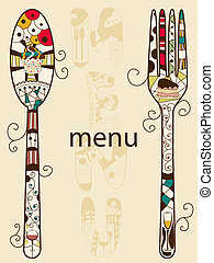 Menu - Vector menu pattern with spoon and fork