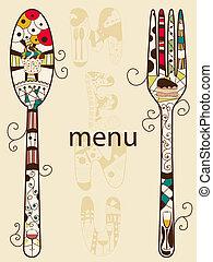 Menu - Vector menu pattern with spoon and fork