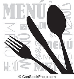 menu vector - menu with silhouette cutlery background....