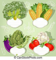 menu, vegetariano, -, bandeiras