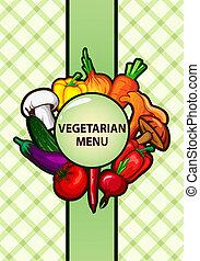 menu, vegetariano, disegno, vegetab