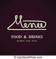 menu, vetorial, desenho, modelo, restaurante
