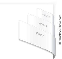 menu, vetorial, navegação
