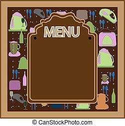 menu, vettore, disegno, ristorante