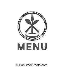 menu, vettore, disegno, sagoma, ristorante