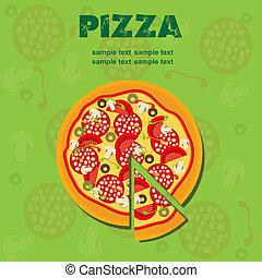 menu, vettore, pizza, illustrazione, sagoma