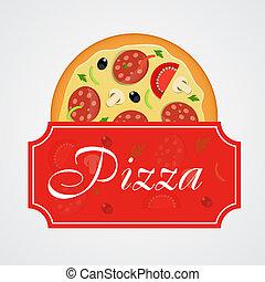 menu, vettore, sagoma, illustrazione, pizza