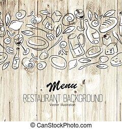 menu, vettore, template., ristorante