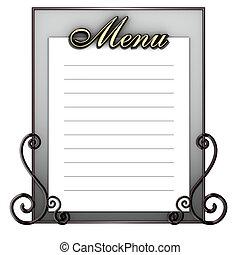 menu, vieux, planche