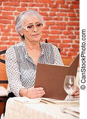 menu, vrouwenlezing, restaurant