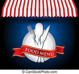 menu, wektor, nożownictwo, restauracja