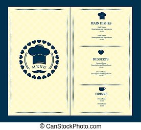 menu, wektor, osłona, szablon