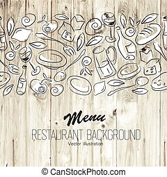 menu, wektor, template., restauracja