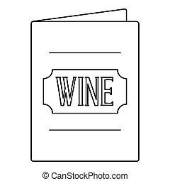 Menu wine list icon, outline style