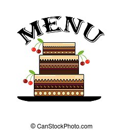Menu with cake,vector.