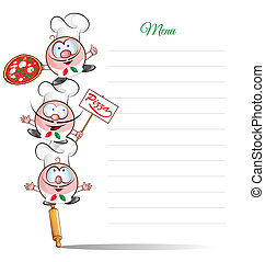 menu with funny chef cartoon