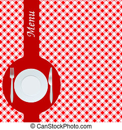 Menu with red table cloth