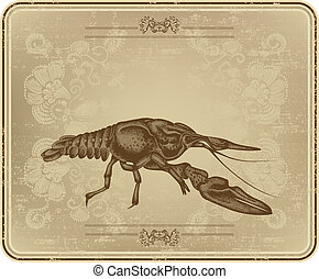 Menu with vintage frame and crayfish, hand drawing, vector