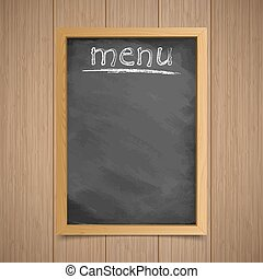 Menu. Wooden frame with an inscription in chalk on a wooden background