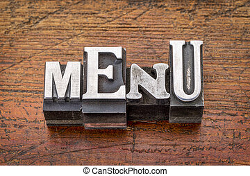 menu word in metal type