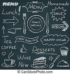 menu, wystawiany zamiar, elementy, restauracja