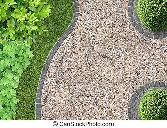 menue paille, sentier, dans jardin