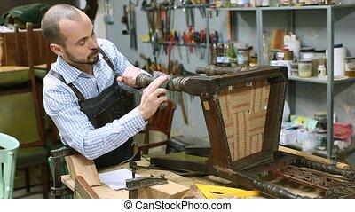 menuiserie, studio, meubles, chaise, antiquité, restaurateur, sien, rénovation