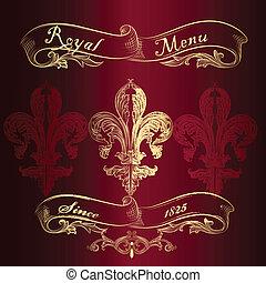 meny, av, kunglig, fleur, design, läsidor
