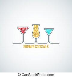meny, bakgrund, sommar, cocktailer