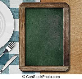 meny, blackboard, lögnaktig, på, bord, med, tallrik, kniv...