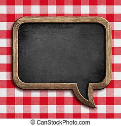 meny, chalkboard, tal porla, på, bord, med, picknicken,...