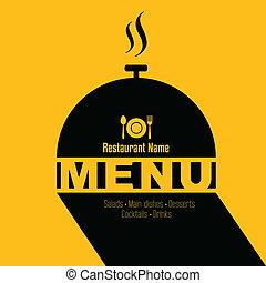 meny, design, retro, kort, restaurang