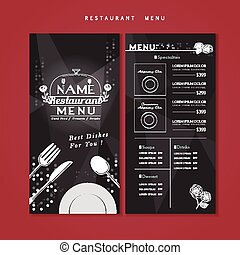 meny, design, stickande, restaurang