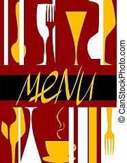 meny, design, täcka, restaurang