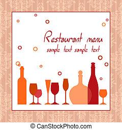 meny, eller, hinder, alkohol, restaurang