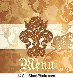 meny, heraldisk, elementara, design