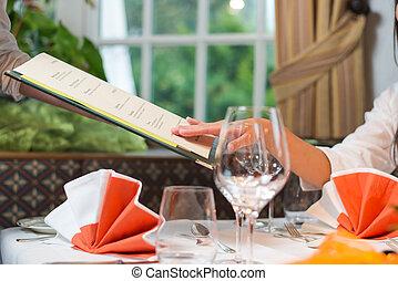 meny, kvinna, måltiden, välja, restaurang