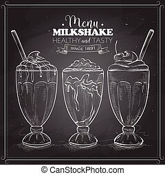 meny, scetch, milkshake, bord, svart
