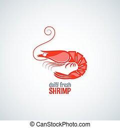 meny, skaldjur, bakgrund, räka