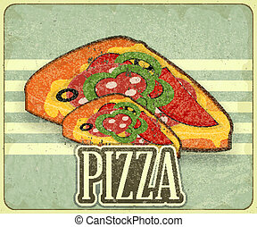 meny, täcka, retro, pizza