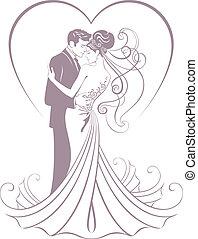 menyasszony, és, vőlegény
