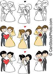 menyasszony, bájos, lovász