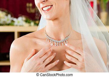 menyasszony, -ban, a, felöltöztet bevásárlás, helyett, esküvő öltözködik