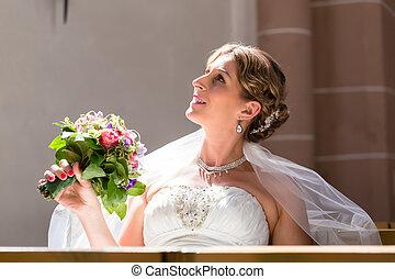 menyasszony, -ban, esküvő, alatt, templom, noha, virág bouquet