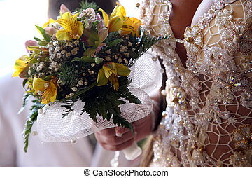 menyasszony, birtok, a, esküvő bouquet, closeup
