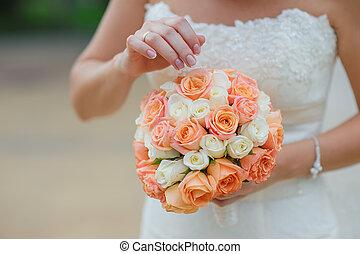 menyasszony, birtok, esküvő bouquet, closeup